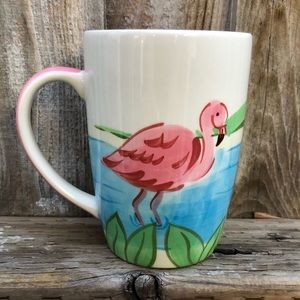 Hand Painted Pink Flamingo Coffee Mug